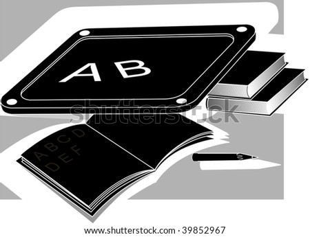 Illustration of study equipments of book, slate and pencil