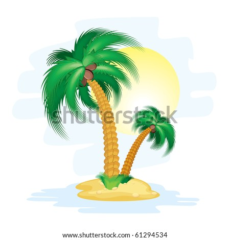 Illustration of stylized cartoon island with tropical palms - stock vector