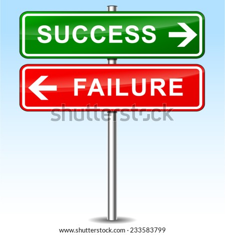 illustration of success and failure directional signs - stock vector