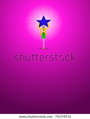 Illustration of successful Hispanic business woman holding a glowing star of success on magenta background. - stock vector