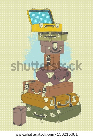 Illustration of suitcases' pile before travel - stock vector