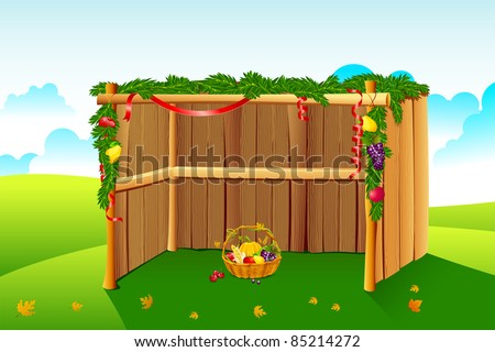 illustration of sukkah decorated with leaves and fruit for sukkot - stock vector