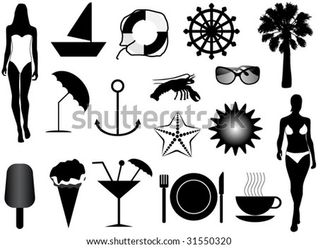 Illustration of summer icons - stock vector