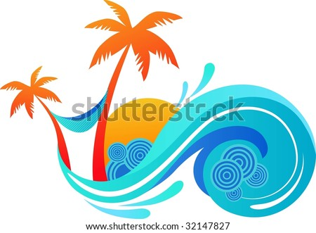 illustration of summer - palm trees and ocean wave - stock vector