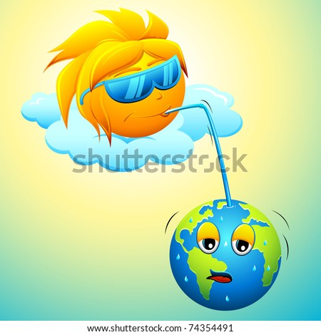 illustration of sun enjoying juice from earth - stock vector
