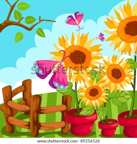 illustration of sunflower in a pot with butterfly on white - stock vector