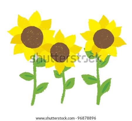 Illustration of sunflower was drawn with a crayon - stock vector