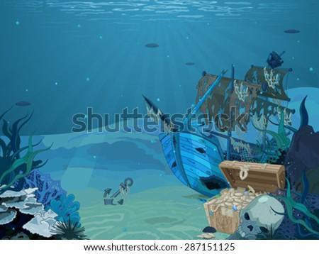 Illustration of sunken sailboat on seabed background - stock vector