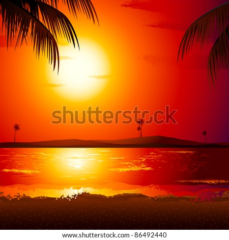 illustration of sunset view in beach with palm tree - stock vector