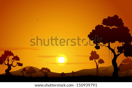 illustration of sunset view of jungle