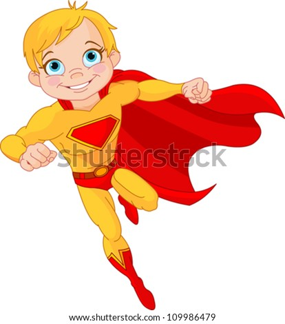 Illustration of Super Hero Boy in the fly - stock vector