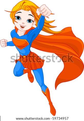 Illustration of Super Hero Girl in the fly - stock vector
