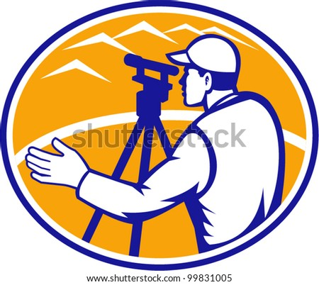 Illustration of surveyor civil geodetic engineer worker with theodolite total station equipment set inside ellipse done in retro woodcut style, - stock vector