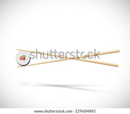 Illustration of sushi and chopsticks isolated on a white background. - stock vector