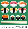 illustration of Sushi vector set - stock vector