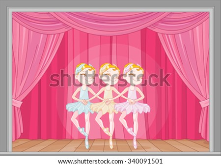 Illustration of Swan Lake stage performance  - stock vector