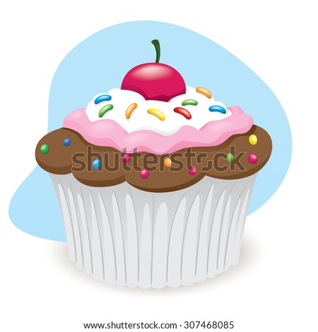 Illustration of sweet cupcake dessert food. Ideal for informational culinary and institutional