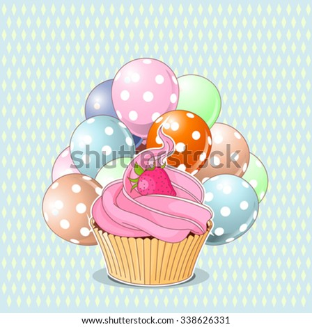 Illustration of sweet cupcake, strawberry and balloons - stock vector