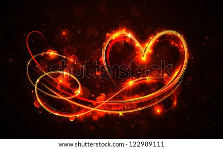 illustration of swirly glowing heart on abstract background - stock vector