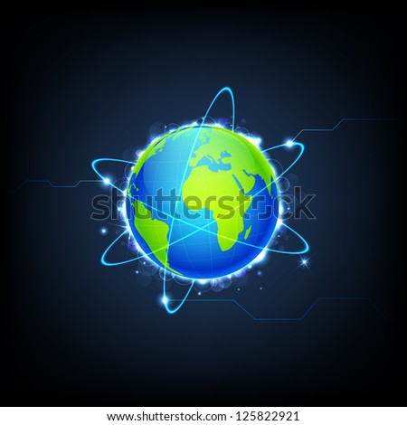 illustration of swirly lights around Earth on technology background - stock vector