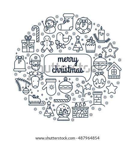 Illustration Symbols Christmas Items Icon Xmas Stock Vector