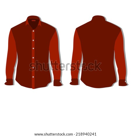 Illustration of  t-shirt,  clothes,  man shirt, formal shirt,  red shirt,  shirt template