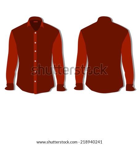 Illustration of  t-shirt,  clothes,  man shirt, formal shirt,  red shirt,  shirt template  - stock vector