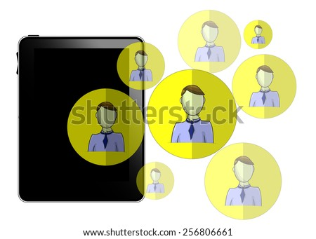 Illustration of tablet with social media heads isolated on white background - stock vector