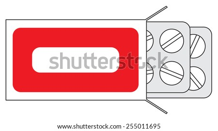 Illustration of tablets in packing on a white background - stock vector