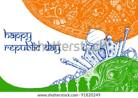 illustration of Taj Mahal on tricolor doodle background - stock vector