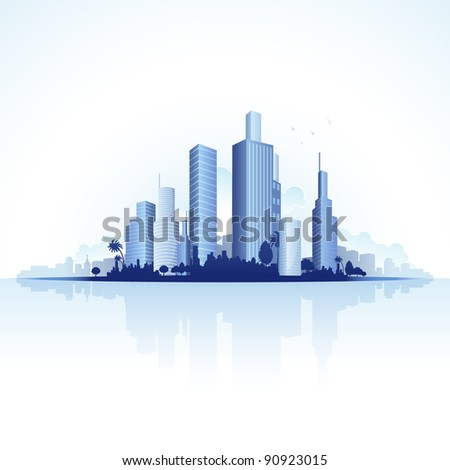 illustration of tall business tower of urban city - stock vector