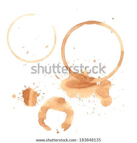 Illustration of tea stains on white  - stock vector