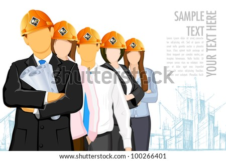 illustration of team of architect wearing hardhat on under construction site - stock vector