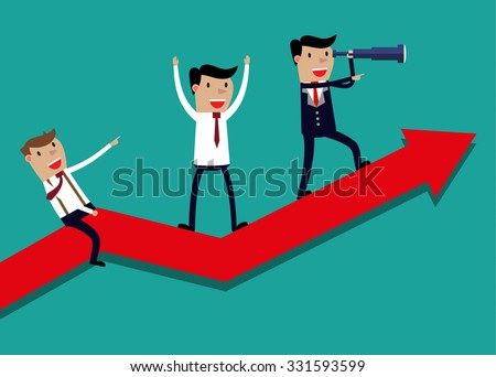 Illustration of team of businessman on arrow graph. Team leader has telescope and leading his team to success - stock vector