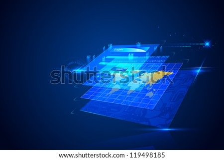 illustration of technology background with login screen - stock vector