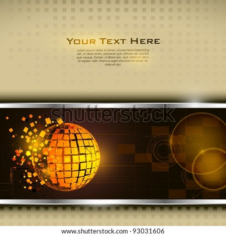 illustration of technology base template with broken globe - stock vector