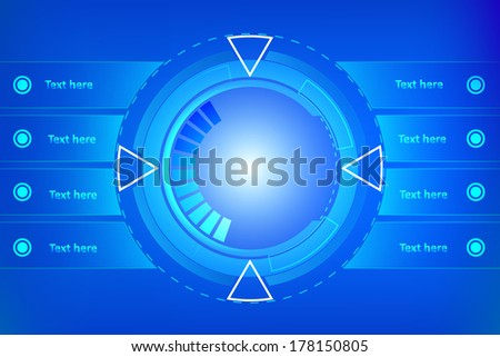 illustration of technology infographic blue - stock vector