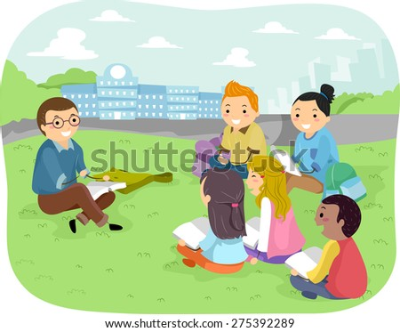 Illustration of Teenage Students Studying in a Park - stock vector