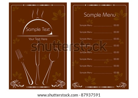 illustration of template for menu card with cutlery on floral background - stock vector