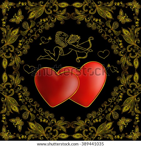 Illustration of template for wedding, greeting or invitation card with cupid, hearts and floral doodle ornament in gold color
