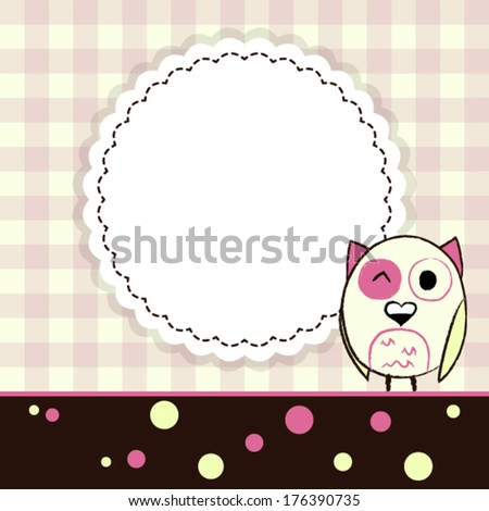 Illustration of template yellow and pink greeting card with owl