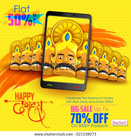 illustration of ten headed Ravana for mobile application sale promotion with hindi text meaning Dussehra - stock vector