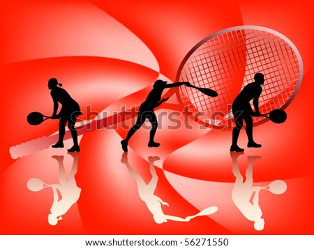 Illustration of tennis silhouettes - stock vector