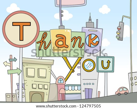 Illustration of Thank You Card Urban Design - stock vector