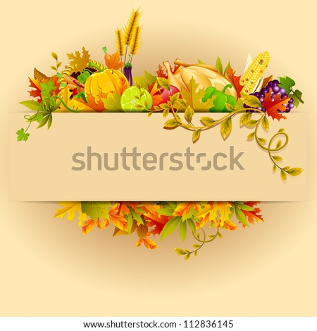 illustration of Thanksgiving celebration banner with maple leaf - stock vector