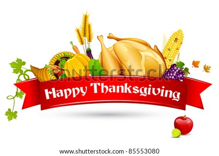 illustration of thanksgiving element with red ribbon - stock vector