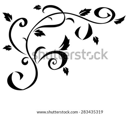 Illustration of the abstract black floral element for design - stock vector