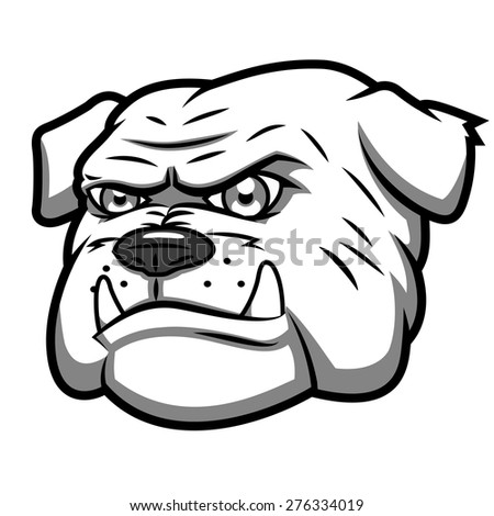 Illustration of the angry aggressive bulldog head - stock vector