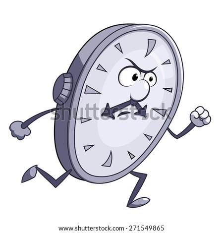 Illustration of the angry clock running - stock vector