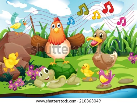Illustration of the animals singing at the riverbank - stock vector